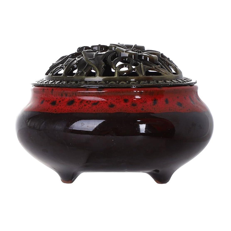 ブローホール百万フィドルセラミック香炉お香スティックホルダーCone Incense Burner中国Celadon磁器装飾チャコールCenserバイオレットセラミックAshキャッチャートレイボウル One Size Ceramic Incense Burner