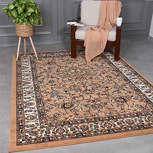 VIMODA - Alfombra clásica oriental densamente tejida para salón, color beige y marrón, marrón, 80 x 150 cm