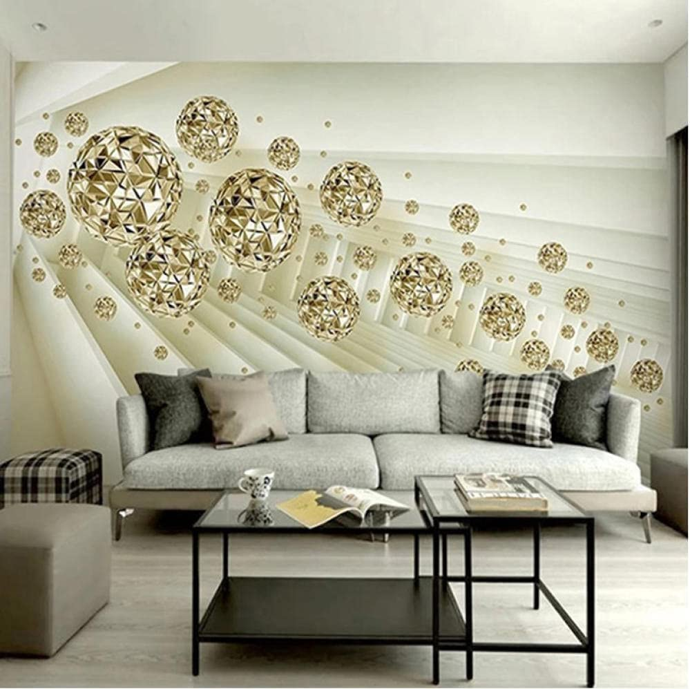 3D Wall Mural Poster Large Sticker Abstract bal Fashionable Wallpaper Seattle Mall golden