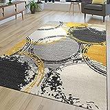 TT Home Alfombra moderna para salón, diseño abstracto de pelo corto, círculos en amarillo, gris y blanco, tamaño: 80 x 150 cm
