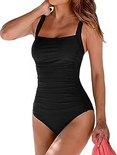 Banadores Mujer Reductores Mujer Color sólido Traje de baño Bandeau Monokini Body Shaping Correa de Hombro Ajustable Talla Grande