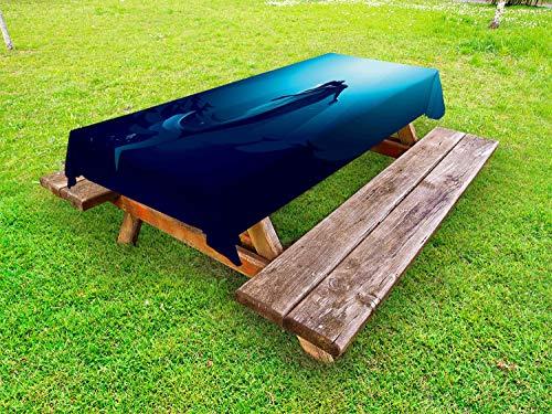 ABAKUHAUS Onderwater Tafelkleed voor Buitengebruik, Zeemeermin in Deep Water, Decoratief Wasbaar Tafelkleed voor Picknicktafel, 58 x 84 cm, Blauw