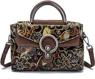 Fashion Leather Retro Handbag/Fashion Embossed Wiped Shoulder/Portable/Messenger Head Layer Cowhide Handbag (Color : Yellow)