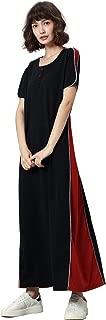 Womens Sweatshirt Causal Hoodie Maxi Dress Kaftan Solid Colorblock Dress Vintage Abaya Muslim Robes Moroccan Gown