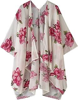 Goofly Women Floral Print Kimono RAUrdigan Cover Ups Open Front Batwing 3/4 Sleeves Loose Bohemian Holiday Beach Bikini RAUsual Summer Chiffon Tops