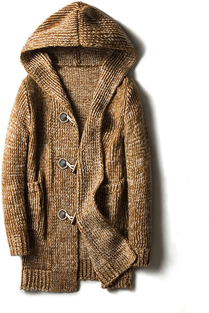 USDBE Autumn Winter Mens Loose Long Cardigans Sweaters Mens Knit Hooded Sweater