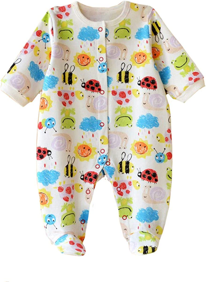 Baby One Piece Romper Snug Cotton Pajamas Footed Jumpsuit for 0-12 Month Newborn