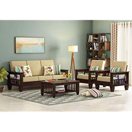 NK Furniture Wooden Solid Sheesham Wood Sofa Set 5 Seater for Living Room | Termite Free | Wooden Sofa Set Furniture Sofa 5 Seater Living Room Home | Sofa Set (Walnut Finish)