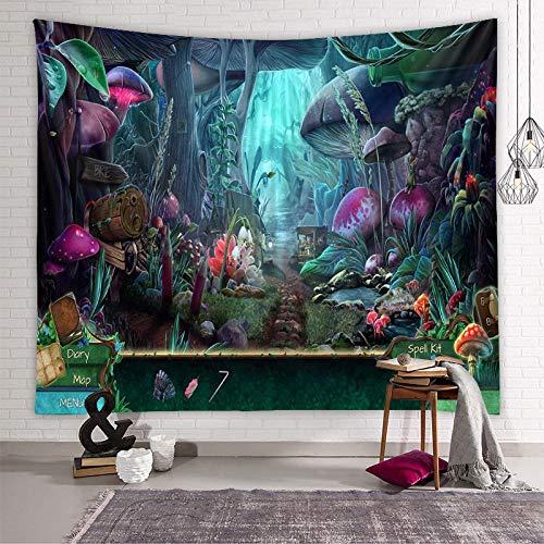 Tapiz Pared,Tapices Decorativos,Colcha de pícnic,Trippy Forest Mushroom Village Tapiz mágico Mundo psicodélico Hippie tapices para TV telón de Fondo Dormitorio Dormitorio