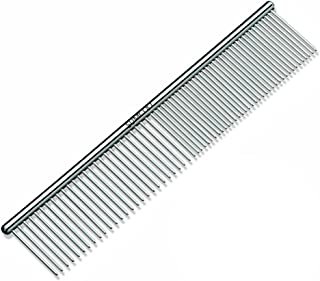 SUMCOO Stainless Steel Pet Dog & Cat Shedding Comb and Grooming Comb with Different Spaced Rounded Teeth, Wide Trimmer Comb.