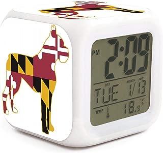 BIAOSD Digital Alarm Clocks Kids Boxer Dog Silhouette LED Night Glowing Cube LCD Clock Bedroom Bedside Clocks