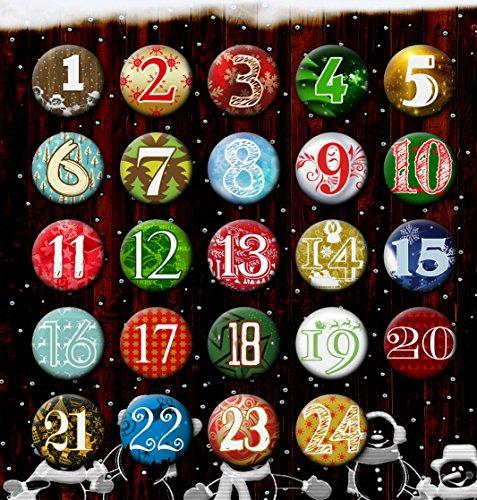 24 Adventskalender Buttons: Bunte, durchnummerierte Anstecker (Ø 25 mm) mit Bogennadel zum selber Basteln von DIY-Weihnachts-Kalendern und zum Dekorieren; Pins/Sticker aus Metall (25 mm)