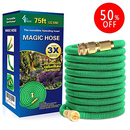 JJTGS Garden Hose - 75 Feet Green, Expandable Water Hose, Expandable Lightweight and Durable Water Hose, Extra Strength Textile, Solid Brass Connector
