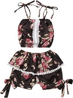 VISGOGO Toddler Kid Baby Girl Floral Outfits Set Off Shoulder Halter T-Shirt Tops + Bow Short Pants