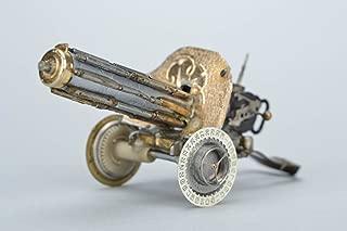 Handmade Steampunk Metal Figurine With Clock Mechanisms Machine Gun Maxim