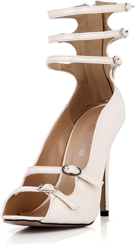 DolphinGirl Women Fashion White Peep Toe 12CM High Heels Ankle Wrap Zip Dress Pumps Stiletto shoes SM00102