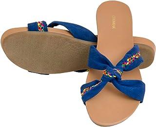 Chumbak Knot Bow Blue Sliders