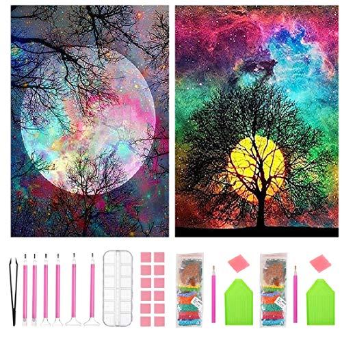 5D Kits de pintura de diamantes para bricolaje Taladro completo para adultos y niños Kits de herramientas y accesorios de bricolaje Luna y árboles Artesanía para la decoración de la pared del hogar