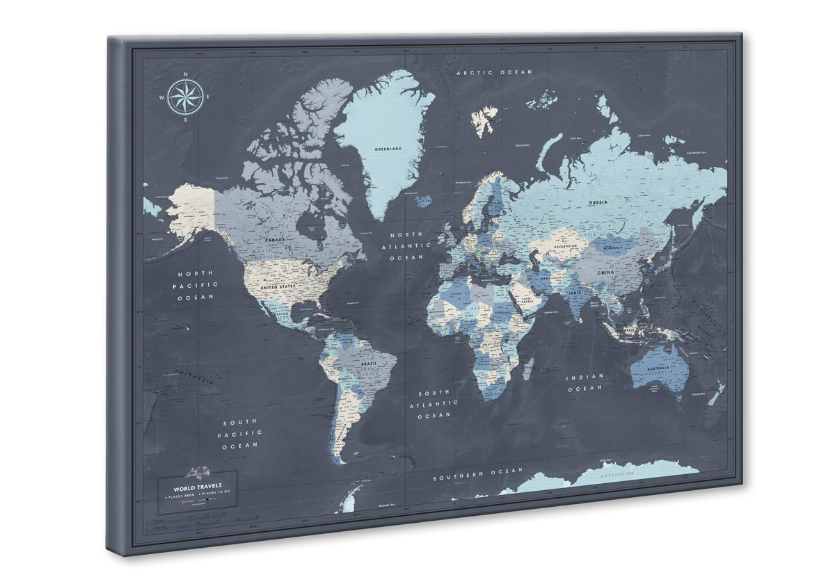 World Map on Canvas with Pins | Personalized World Map Pin Board | Modern Navy Push Pin Map Design | 24