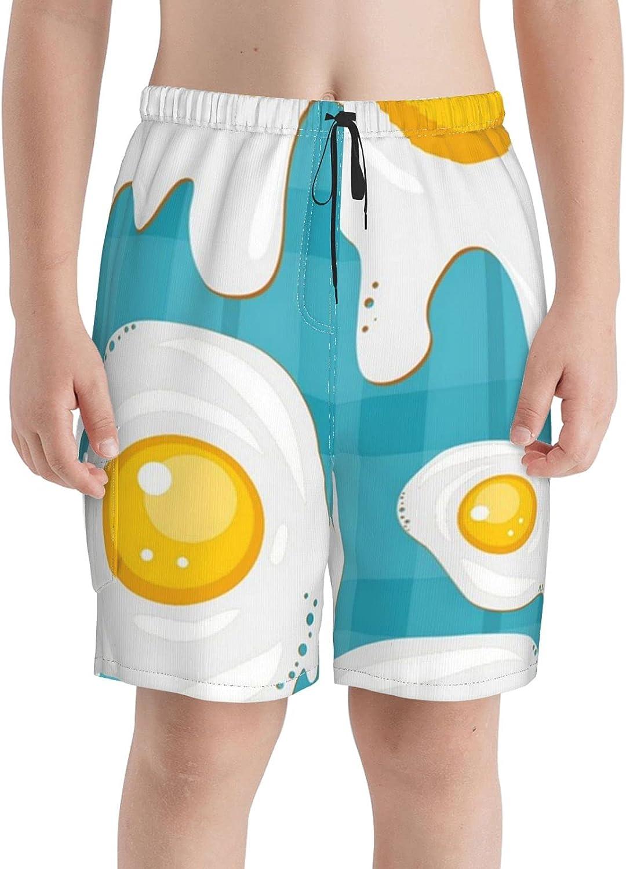 Neddelo Fried Egg Food Boys Trunks Boardshorts Teens unisex New product type Swim Beach
