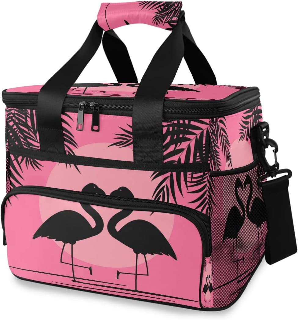 Blueangle Cute Pink Flamingo Cooler Bag Insulated Lunch Box Lunch Tote Bag Large Thermal Organizer for Adults Work Picnic Hiking Beach Fishing