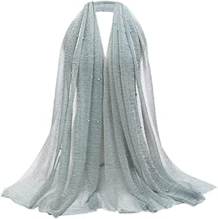 Fashion Pearls Glitter Scarf Cotton Cover Head Wrap Pleated Muslim Jewish Scarf Hijab Shawl Wrap
