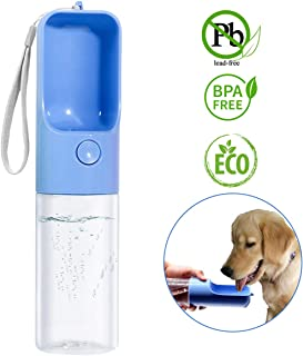 TRUE LOVE Dog Water Bottle for Walking, Portable Pet Travel Water Drink Cup Mug Dish Bowl Dispenser, Made of Food-Grade Material Leak Proof & BPA Free - 15oz Capacity
