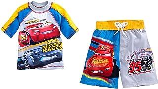 Disney Movie Cars Lightning McQueen Swimラッシュガードシャツ&トランクfor Boys Red