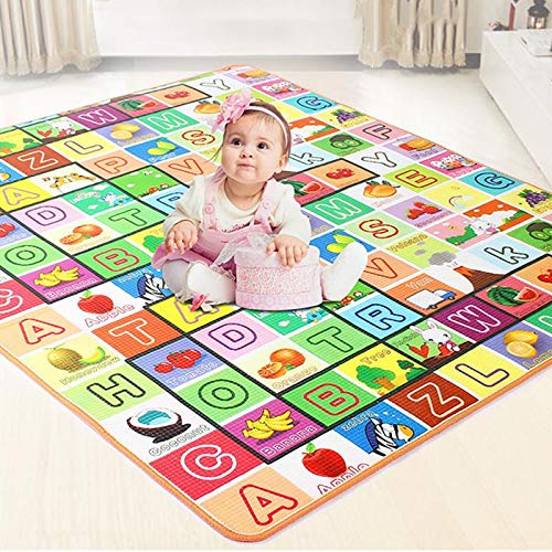 AYSIS Double Sided Water Proof Baby Mat Carpet Baby Crawl Play Mat Kids Infant Crawling Play Mat Carpet Baby Gym Water Resistant Baby Play & Crawl (Extra Large Biggest Size - 6.5 Feet X 6 Feet) Playmat for Babies
