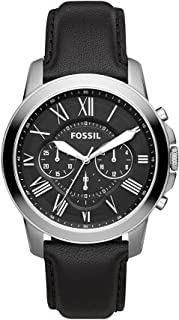 Fossil Men's Black Dial Leather Band Watch - FS4812