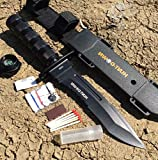 Hunt-Down 12' All Black Survival Hunting Knife Ultra Sharp Fixed Blade Knife - Survival Kit & Compass Camping Survival Pocket Knives + Free eBook by Survival Steel