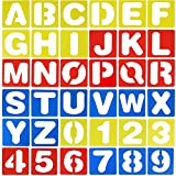 Emoly 36 Pieces Alphabet Stencils and Number Stencils Set, Plastic Letter Stencils for Painting Learning, DIY Craft Decoration 3.94 x 3.94 Inches