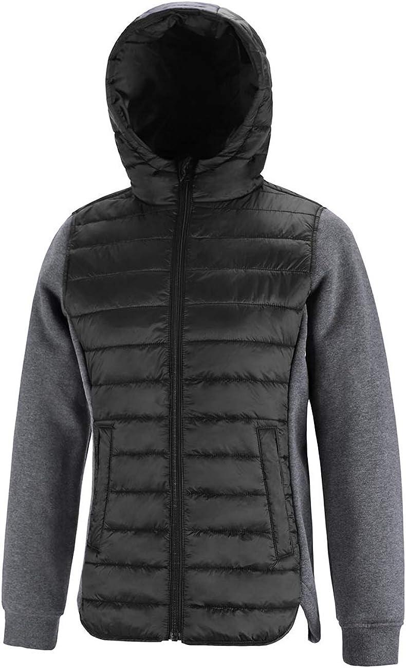 DISHANG Women's Ultra Lightweight Winter Puffer Jacket with Hood Mixed Media Coat