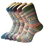 🌸 MATERIAL & BENEFIT : Womens socks for present are made of 35% Wool 29% Cotton 36% Polyester. The wool socks are soft, breathable, wearable. 🌸 SUITABLE SIZE : Our womens socks are about 23 to 26cm, one size fit for most size from UK 4 to UK 8 , EU s...