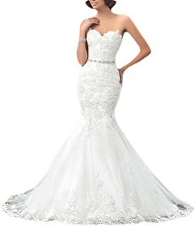 Sweetheart Trumpet Wedding Dress with Beaded Sash Lace Mermaid Bridal Gowns White Jerald Norton Ltd