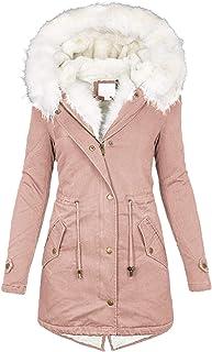 Darringls Fleecejack voor dames, winterjas, oversized, winterjas, eenkleurig, donsjack, lange mouwen, functionele jas, rit...