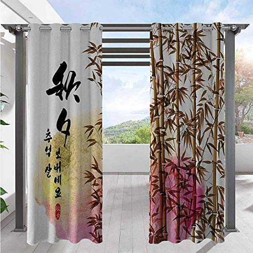 Adorise Print Outdoor Curtains Bamboo Painting with Japanese Words in Mid Autumn Festival Giving Day Harvest Artsy Work Waterproof Blackout Drapery Wind Prevention/Waterproof Multi W72 x L84 Inch