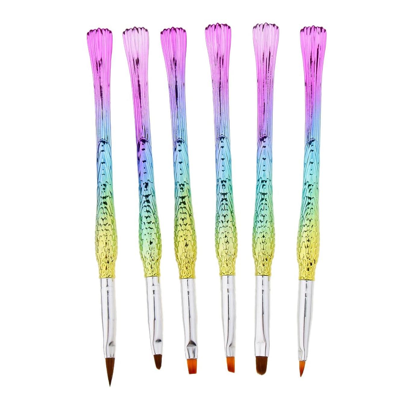 Homyl ネイルアートペン ネイルブラシ マーメイドテール おしゃれ ネイルデザイン プレゼント 5タイプ選べ - 6本 タイプ5