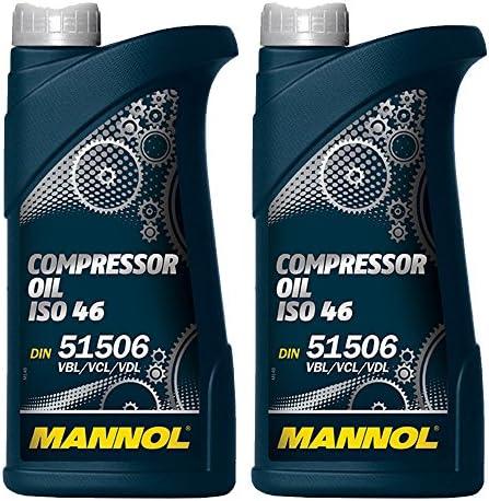 Mannol 2 X 1l Compressor Oil Iso 46 Din 51 506 Vbl Vcl Vdl Auto
