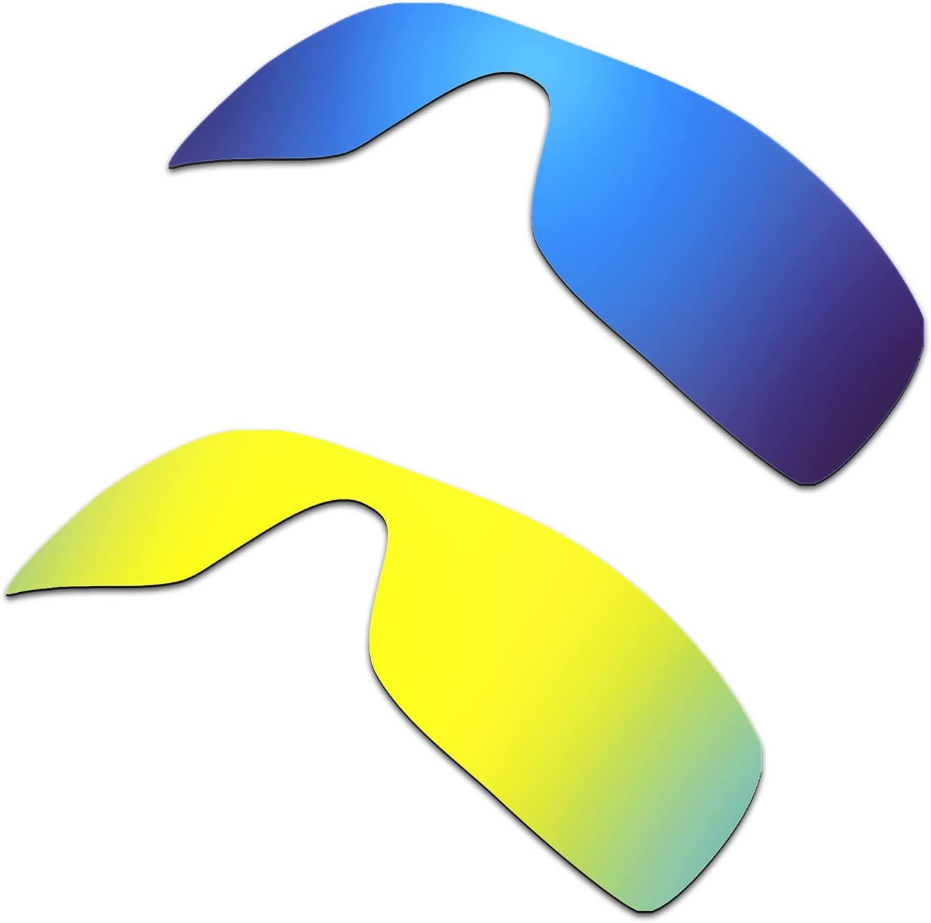 HKUCO Mens Replacement Lenses for Oakley Batwolf Sunglasses Blue/24k Gold