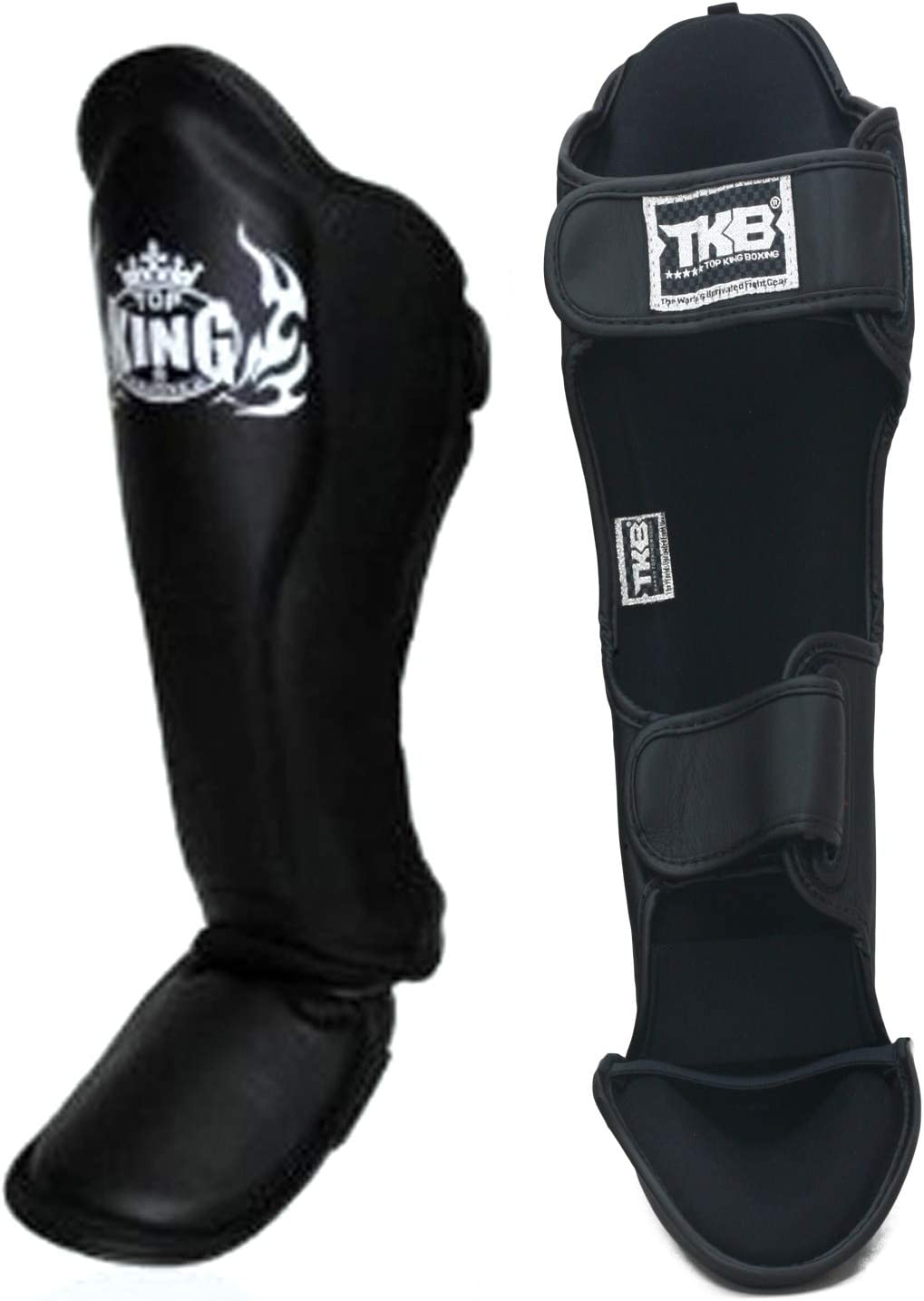 MMA Top King Shin Guard Protector Empower Creativity Superstar Color Black White Size S M L XL for Protection in Muay Thai Kickboxing Boxing