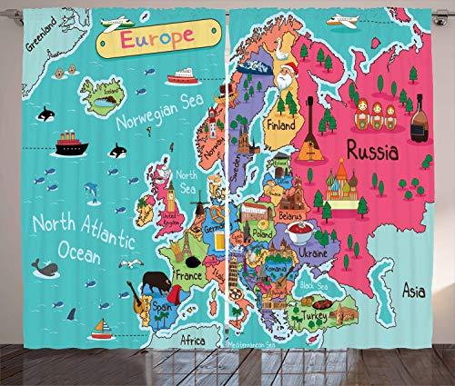 ABAKUHAUS Kaart Gordijnen, Cartoon Europe Landmark, Woonkamer Slaapkamer Raamgordijnen 2-delige set, 280 x 260 cm, Veelkleurig