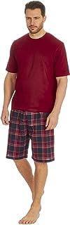 Mens Pyjama Set Short Sleeved T-Shirt Shorts Lounge Top Shirt Bottoms Pants 2-Piece Loungewear Cotton Rich Nightwear Sleep...