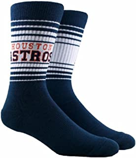 PKWY MLB Horizon Crew Socks Houston Astros - Size Large Fits 6-12-Medium Fits Youth 1-6 (Medium 1-6)