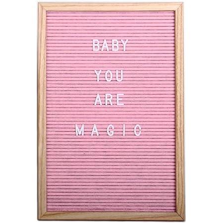 Helio Ferretti. Felter Board. Tablero de Letras personalizable. Pizarra pequeña de madera con 298 letras, números y signos intercambiables. Modelo Rosa. 30 x 3 x 45 cm.