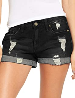 Ladybranch Womens Denim Shorts Hot Pants Mid Waisted Distressed Frayed Rolled Hemline Casual Shorts Jeans