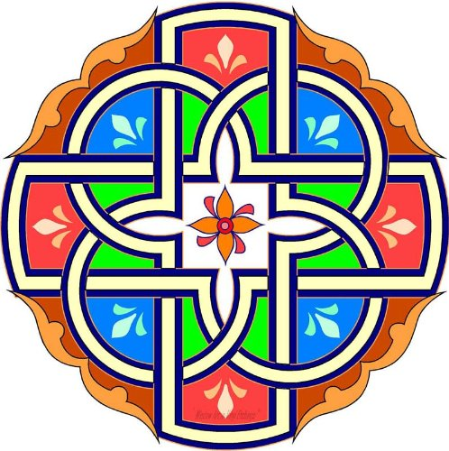 Celtic Cross with Green, Blue & Orange - Etched Vinyl Stained Glass Film, Static Cling Window Decal