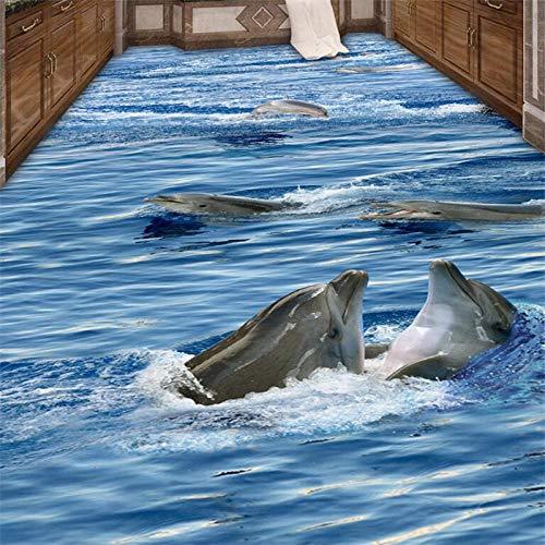 Vinilos De Pared Decorativos 3D Suelo Impermeable 3D Suelo Papel Tapiz Fotográfico Personalizado Mural Adhesivo De Pared Clear Seawater Dolphin Baño Pasillo Pasillo 3D Floor-350_X_245Cm