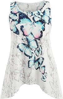 HGWXX7 Women Casual Plus Size Butterfly Print T- Shirt Blouse Cotton Tank Tops