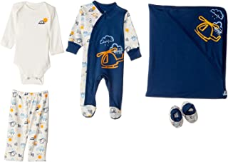 Jockey Printed Clothing Set for Boys - Navy and White, 5 Pieces, 3-6 Months